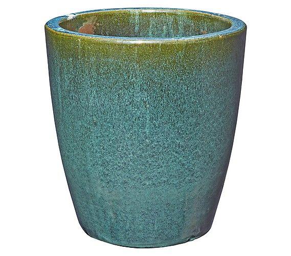 Keramik-Topf, rund, grün glasiert: Dehner Garten Center
