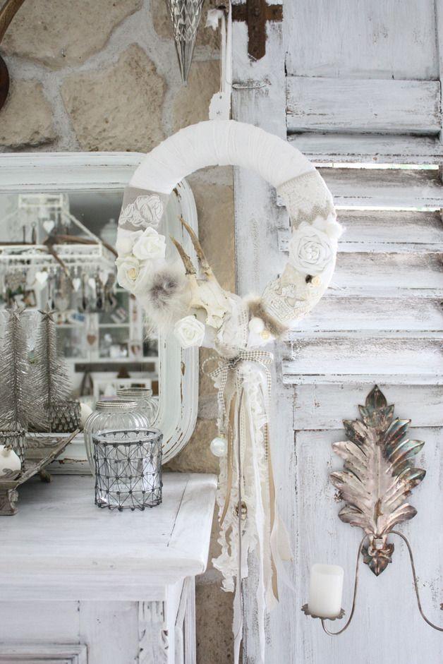 shabby chic kranz leinen hirsch wreaths decoration shabby chic kranz kranz a kranz h keln. Black Bedroom Furniture Sets. Home Design Ideas