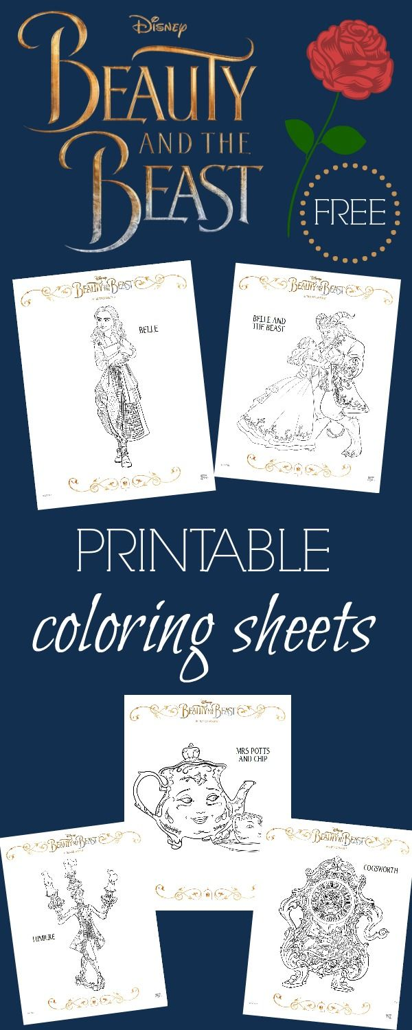 Beauty and the Beast Coloring Pages + FREE activity sheets | Color ...