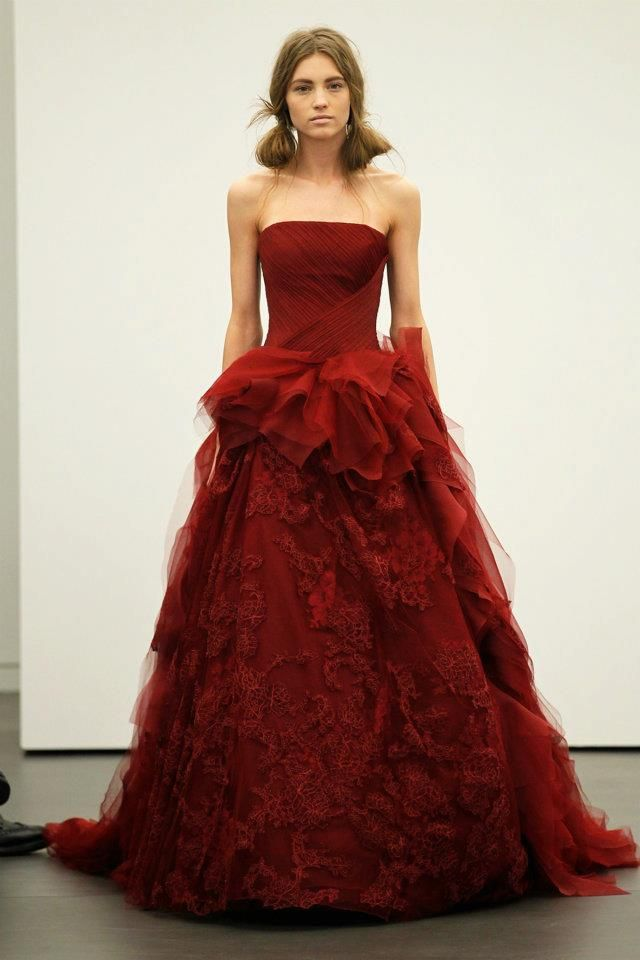 Vera Wang Vera Wang Spring 2013 Bridal Runway Red Wedding Gowns Red Wedding Dresses Colored Wedding Gowns