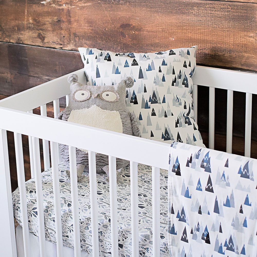 Blue Woodland Mountains Crib Bedding Crib Bedding Boy Boys Crib Bedding Sets Woodland Crib Bedding