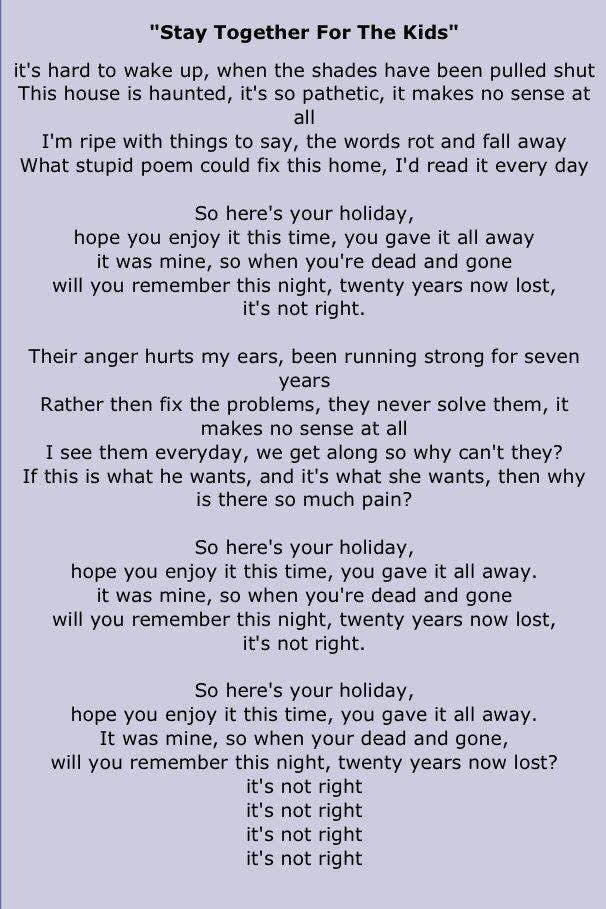 stay together for the kids // blink 182 • lyrics | lyrics ...