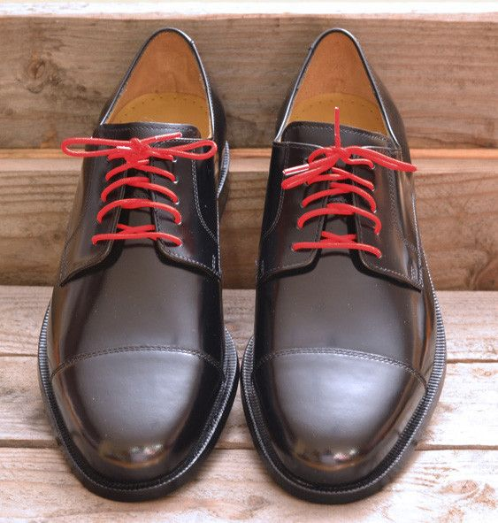 Colored laces are an inexpensive way to jazz up your old lace ups shoes. How hot will this look during the holiday season!