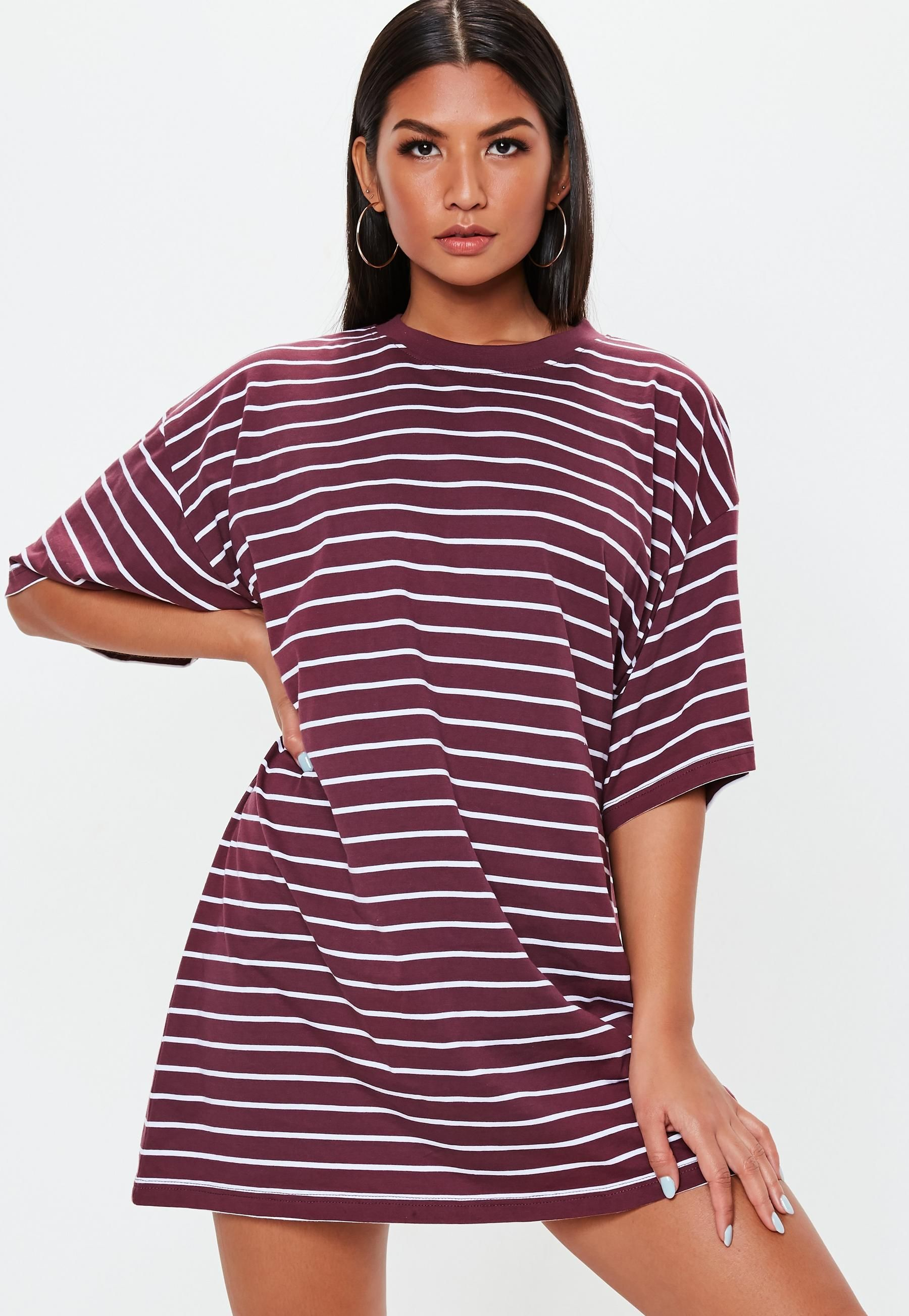 Burgundy oversized short sleeve stripe t shirt dress autumn
