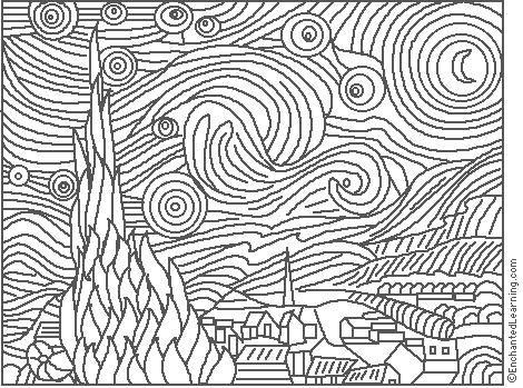 Van Gogh Starry Night Coloring Page Enchantedlearning Com Famous Art Coloring Famous Art Famous Artwork
