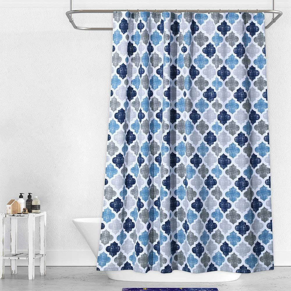 Geometric Quatrefoil Patterned Modern Polycotton Fabric Shower