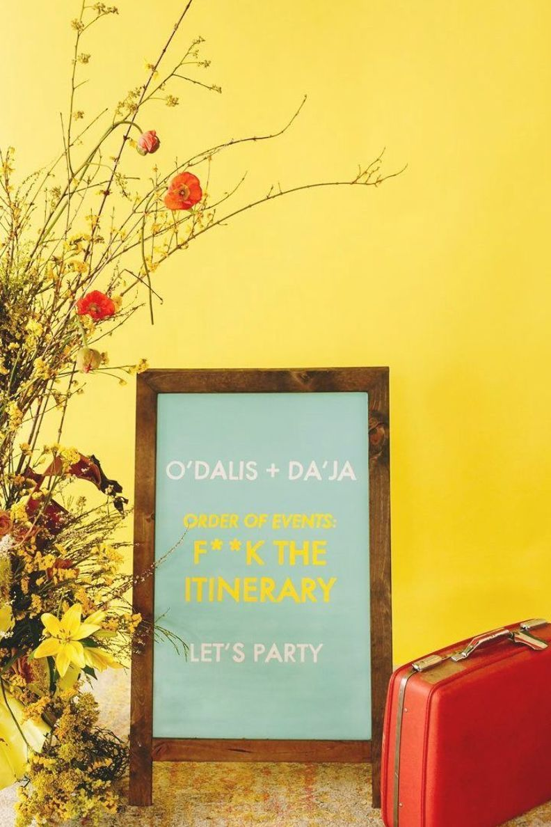 wes anderson inspired wedding brooklyn new york sign reading