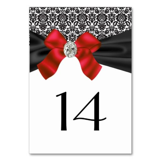 Red and Black Damask Table Cards