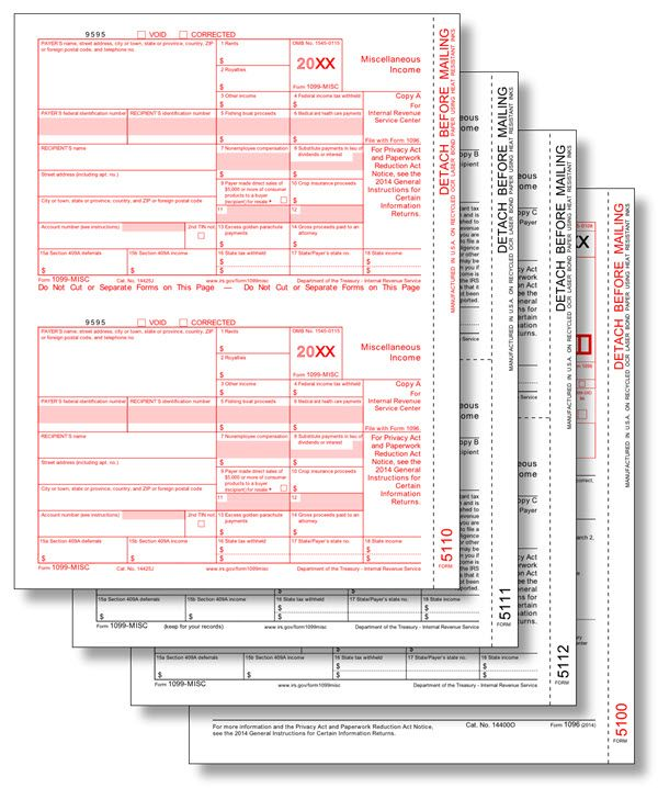 IRS Approved 1099-MISC Tax Forms Use Form 1099-MISC to report that - transmittal form
