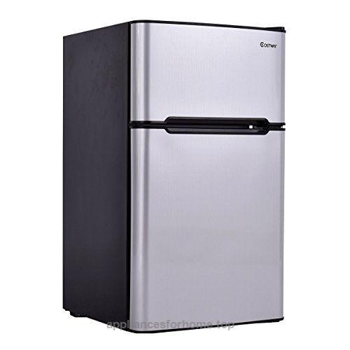 Costway 2 Door Compact Refrigerator 3 2 Cu Ft Unit Small Freezer Cooler Fridge Gray Stainless Steel Refrigerator Compact Refrigerator Mini Fridge With Freezer