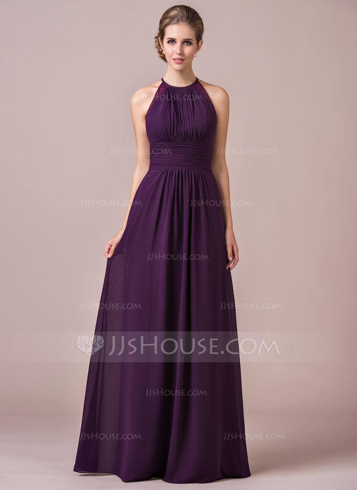 A lineprincess halter floor length chiffon bridesmaid dress with a lineprincess halter floor length chiffon bridesmaid dress with ruffle lace ombrellifo Images