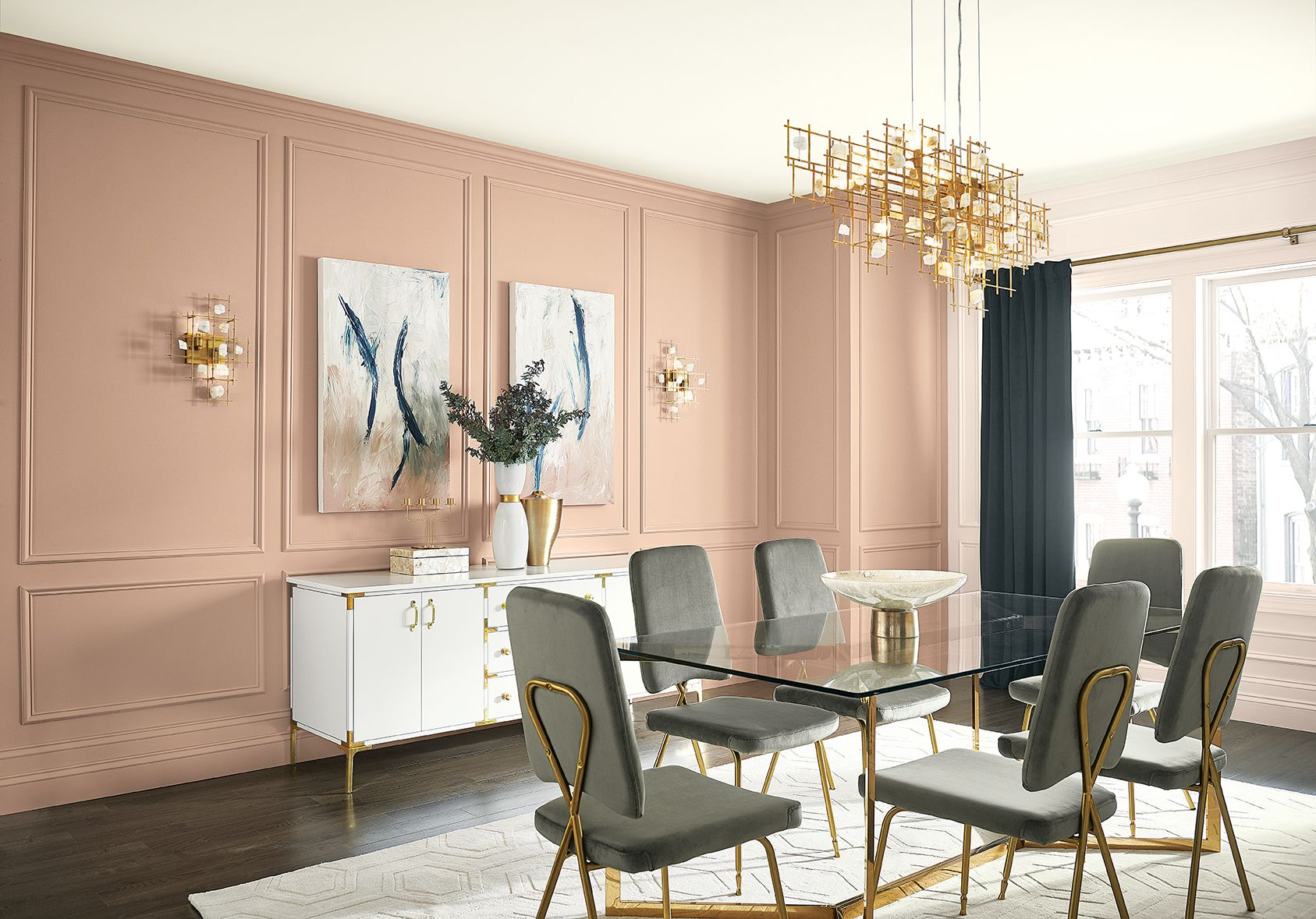 dining room with glass top table and cubic chandelier on most popular paint colors for inside home id=39512