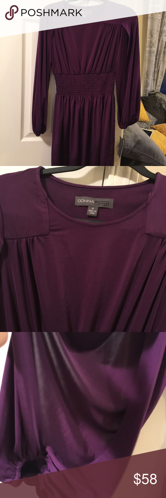 NWT Donna Rocco dress 4 Style #8796217M Royal Purple  Size 4 96% polyester  6% spandex  $118. Open sleeve Donna Ricco Dresses Midi