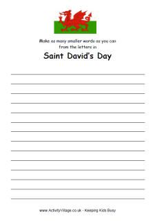 How many smaller words - St David's Day - puzzle