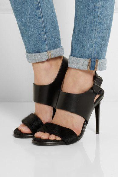 Black Tillie Leather And Calf Hair Sandals Acne Studios Sandals Heels Calf Hair Heels