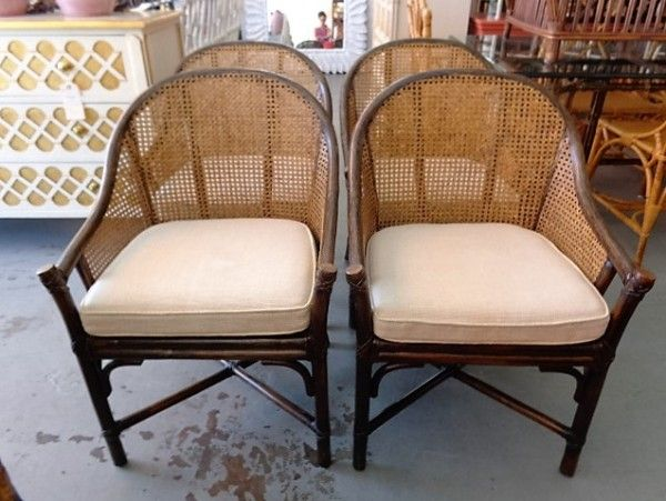 McGuire Rattan Cane Barrel Chairs