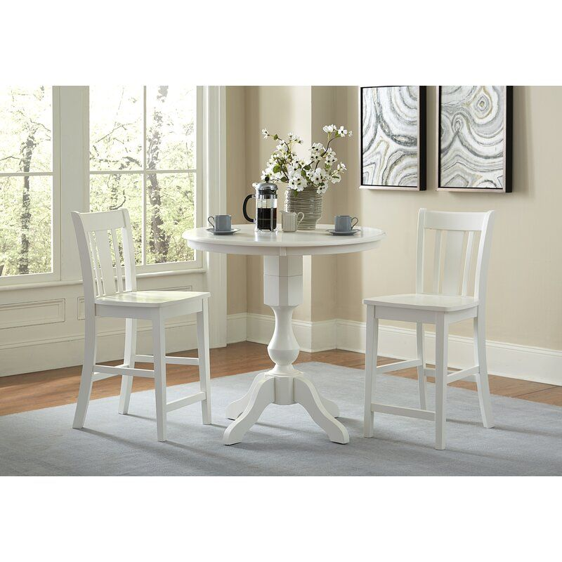 Reichel Round Top Counter Height 3 Piece Pub Table Set Round Counter Height Table Pub Table Sets White Dining Table Set
