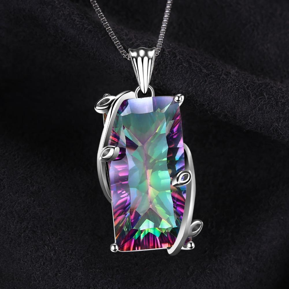 Natural Handmade Jewelry Rainbow Mystic Topaz Argent Antique Collier Pendentifs