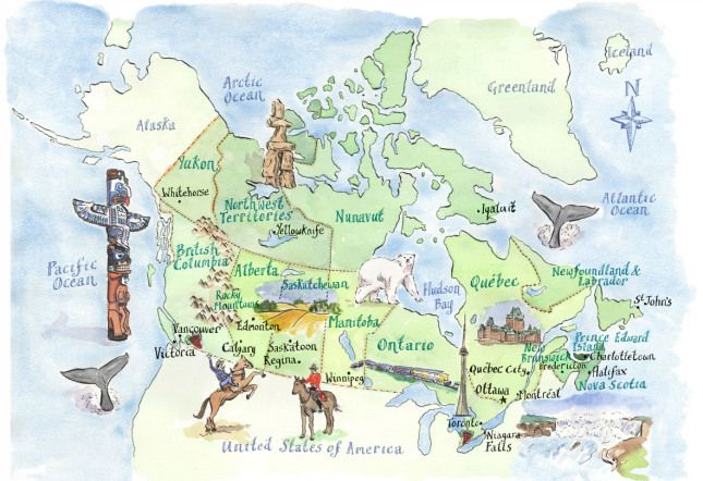 Canada Tourism Map Posts about tourism on Map Collection | Illustrated map, Tourist