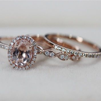 vs 6x8mm pink morganite ring with diamond matching band wedding ring set 14k rose gold morganite - Morganite Wedding Ring Set