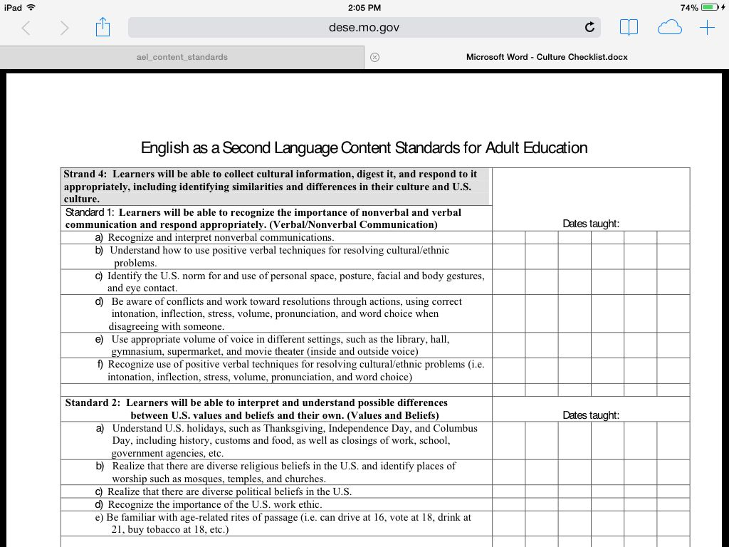 esl culture checklist