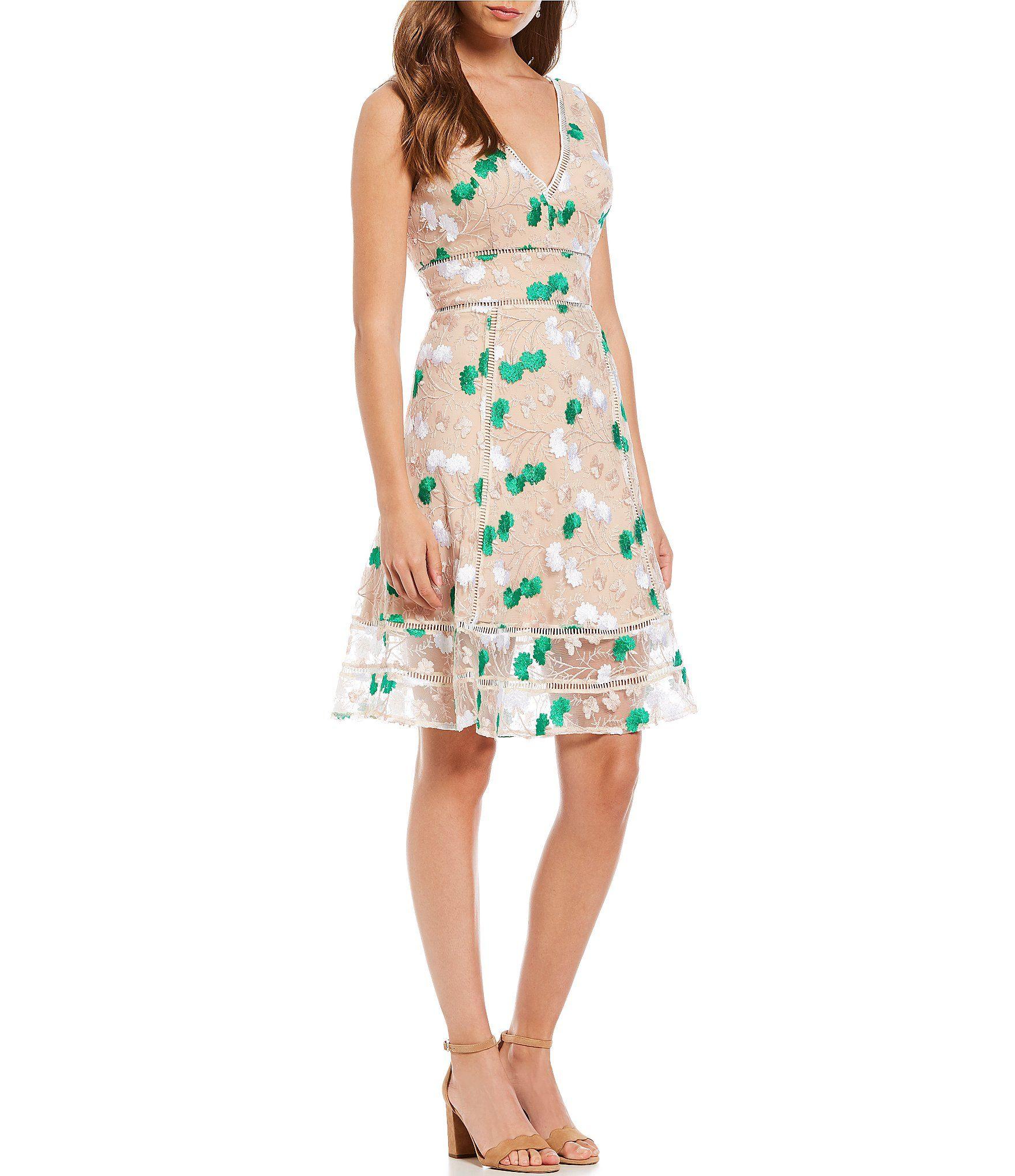 5926385d316 Belle Badgley Mischka Floral Embroidered Trimmed Cocktail Dress  Dillards