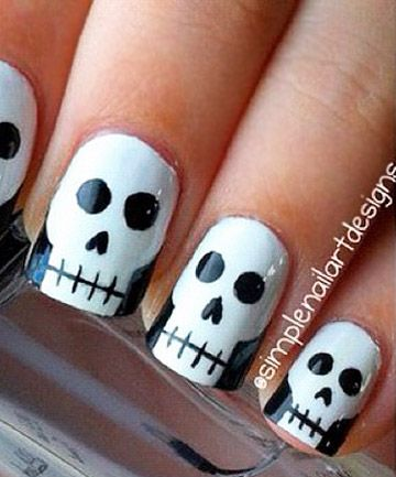 how cute are these skull nails by theyu0027re perfect for halloween you can also watch her video tutorial to see how to create this