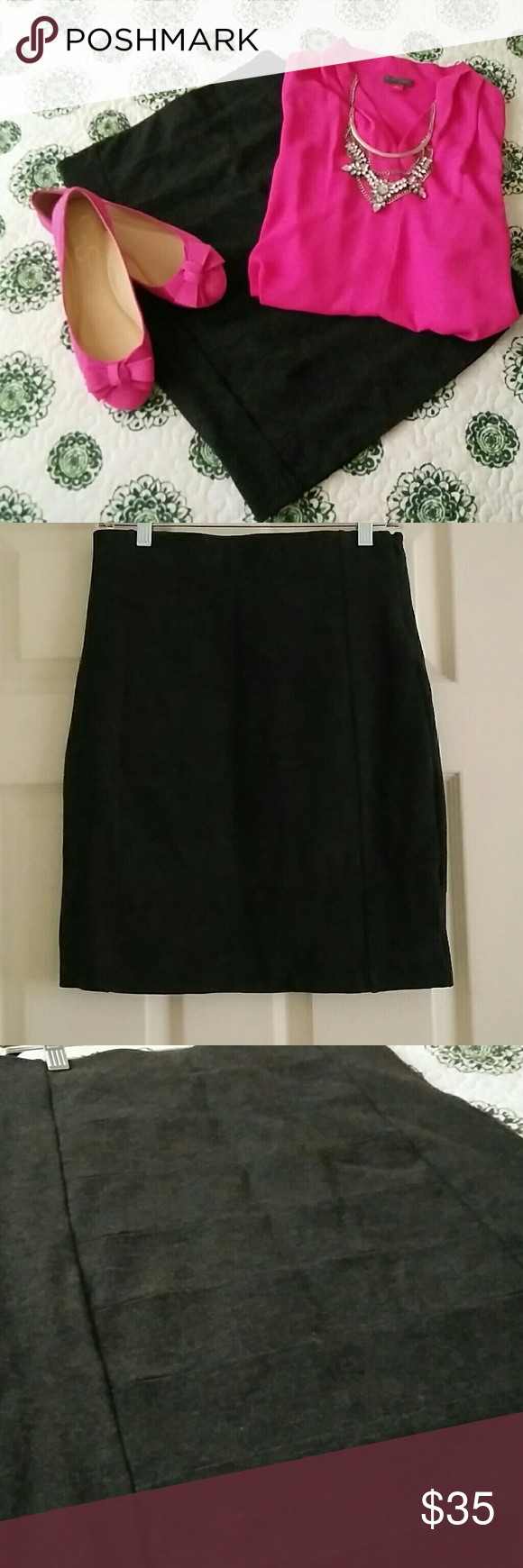 """NWOT WHBM Body Con Pencil Skirt New charcoal gray skirt that's super adorable! 67% viscose, 29% nylon, 4% spandex. Would fit a size 4 very well.  Has a lining. 30"""" long, waist laying flat across the top is 14"""". Fits right at natural waist and hits right above the knee. White House Black Market Skirts Pencil"""