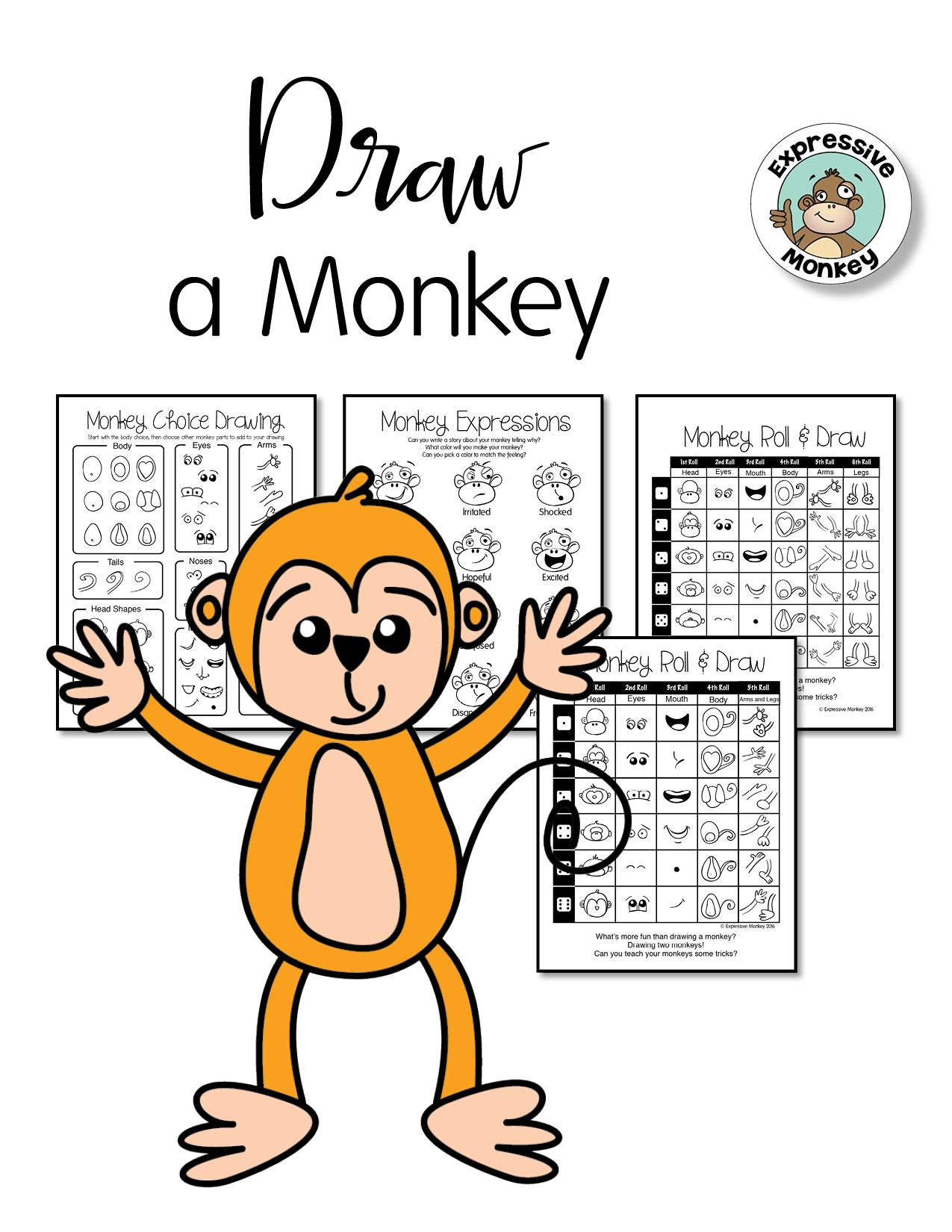 Monkey Drawing Game. Roll & Draw pages turn drawing into a fun game ...