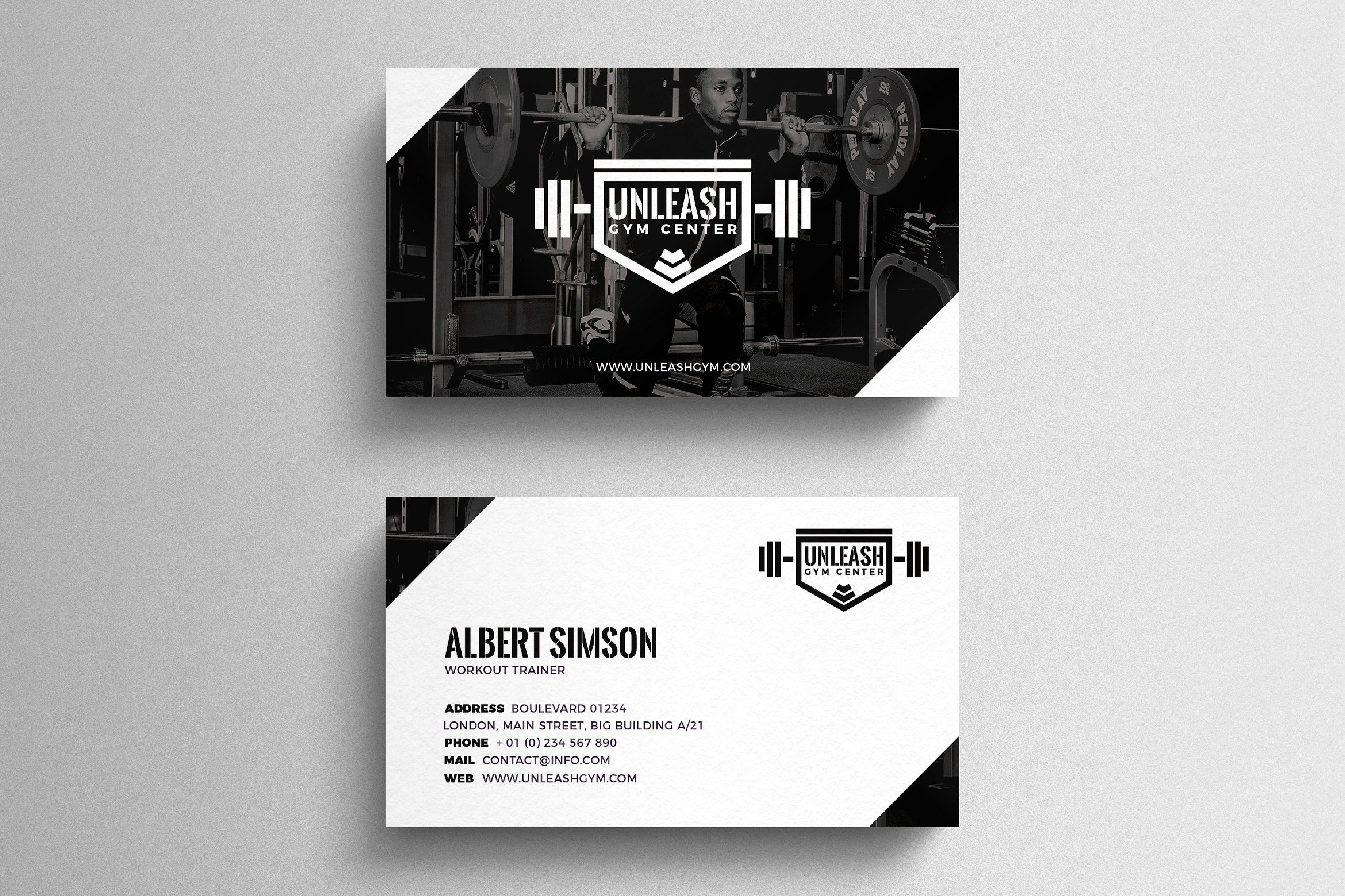 Gym business card template business card template design