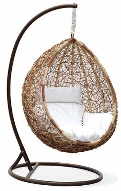 33 Amazing Outdoor Hanging Chairs : 33 Awesome Outdoor Hanging Chairs With  Wooden White Cushion Design