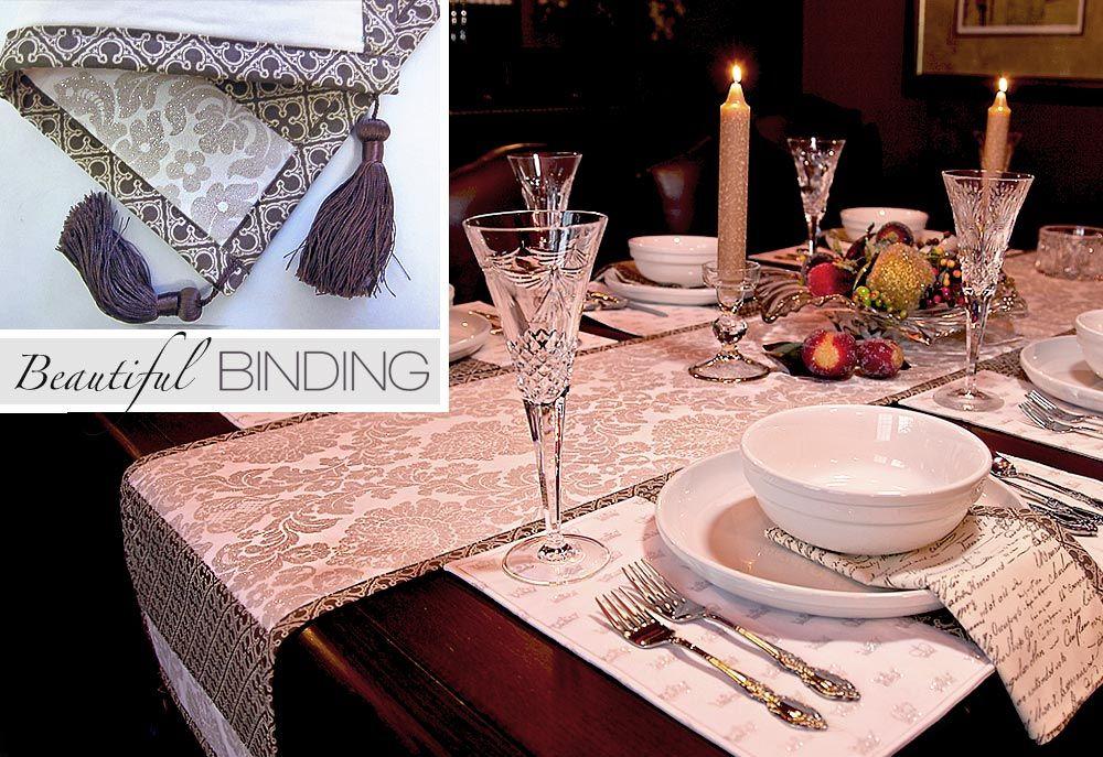 Elegant Table Runners | Beautiful Binding Sparkling Table Runner with Tassels | Sew4Home & Elegant Table Runners | Beautiful Binding: Sparkling Table Runner ...