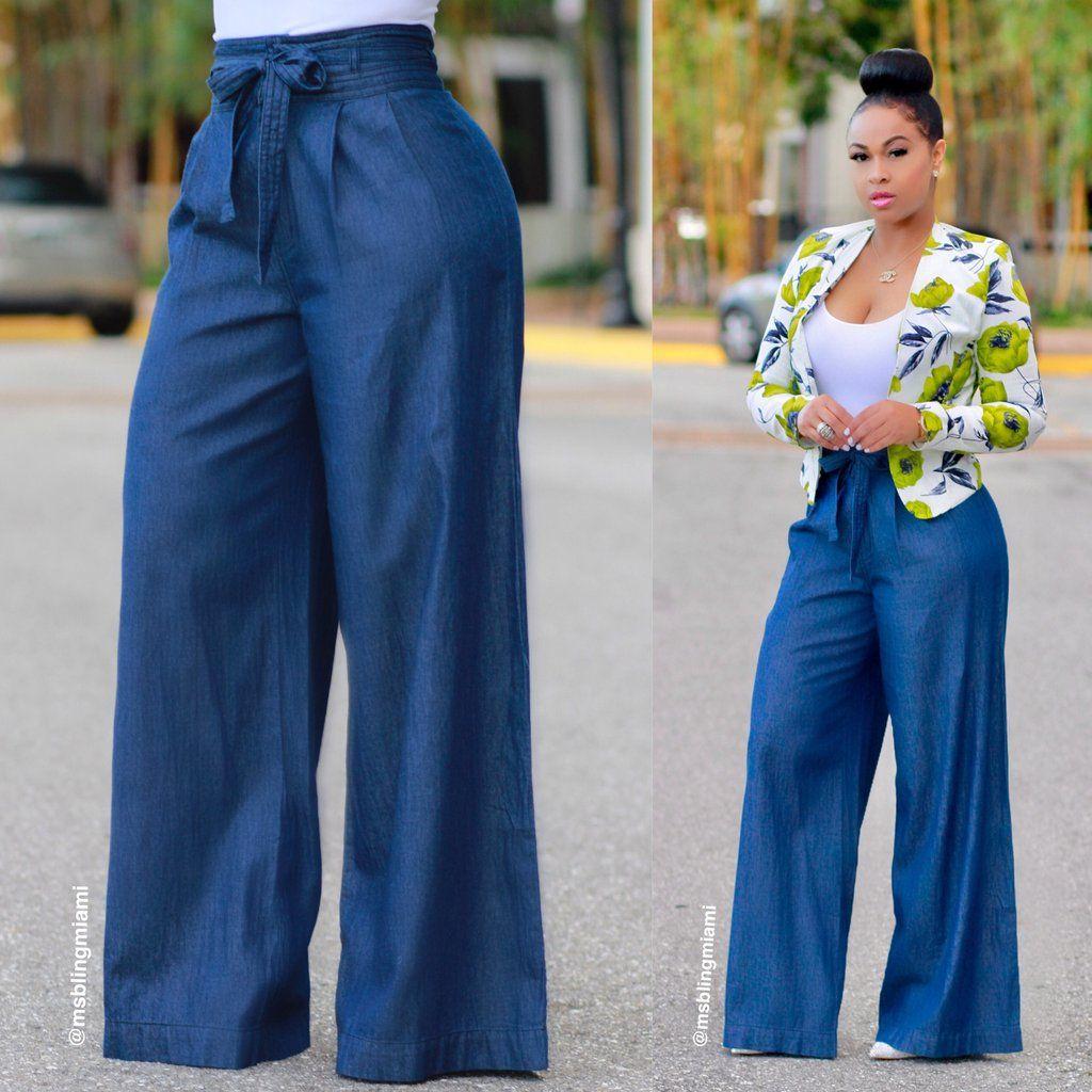 Yanid Denim Palazzo Pants Final Sale High Waisted Pants Outfit Fashion Fashion Pants