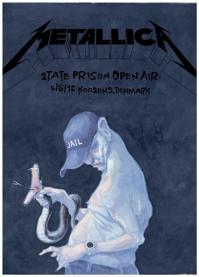 Metallica Poster Featuring Michael Kvium Limited Edition Live From The Prison In Horsens Metallica Tegneseriekunst Billeder