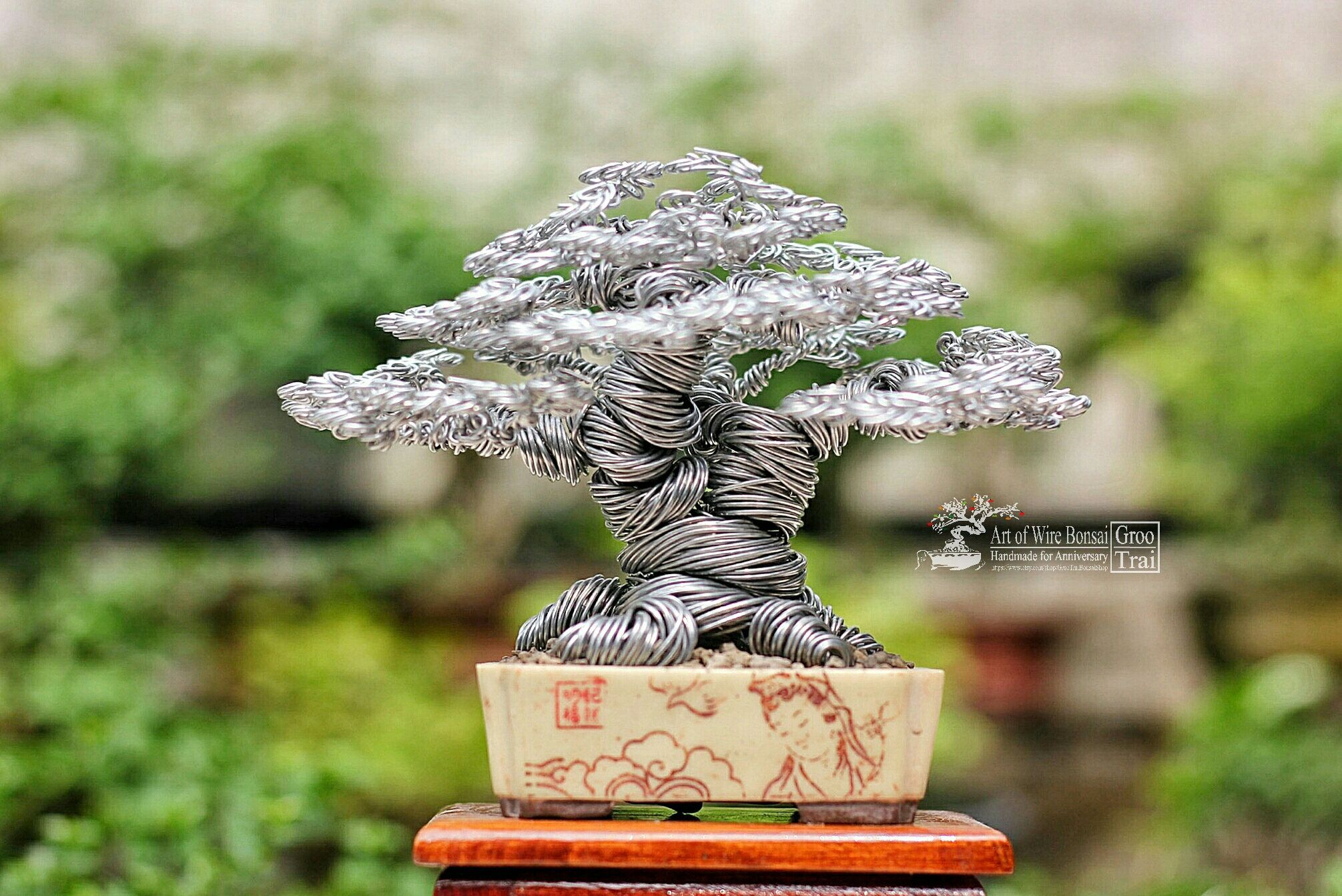 Silver Wire Bonsai Tree Art Sculpture Handmade Broom Style Wiring Cypress Hokidachi Free Wood Stand And Shipping By Grootraibonsaishop On Etsy