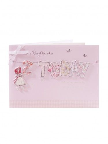 Hanging Letters Daughter 2nd Birthday Card
