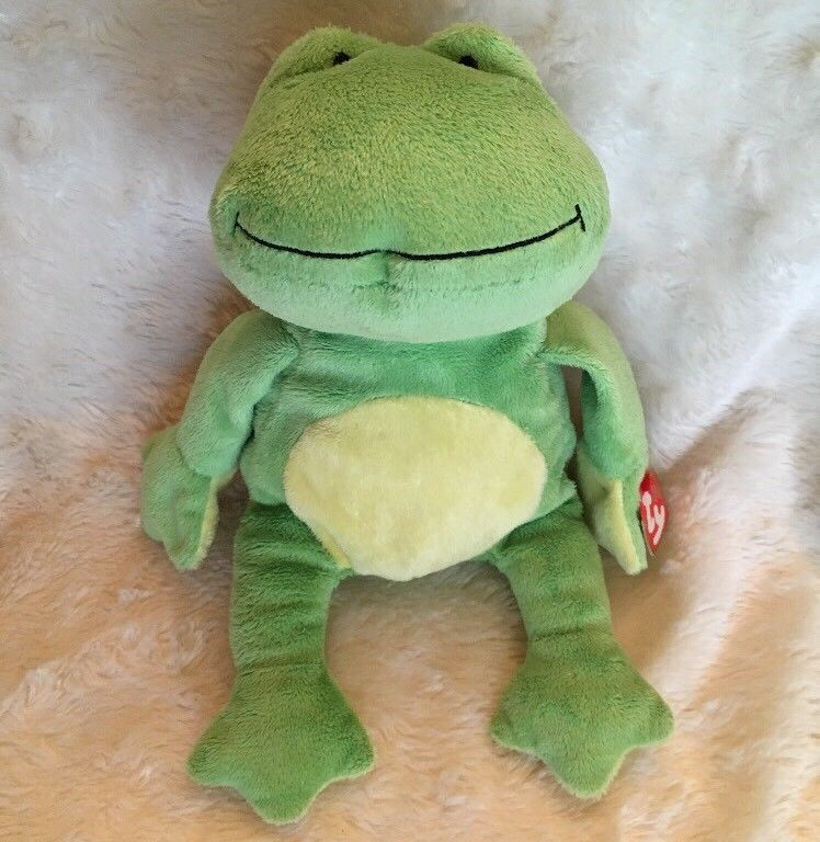 98d4afeb8d5 Ponds Plush Frog Ty Pluffies Plush Stuffed Animal Beanie Green Yellow  Ty