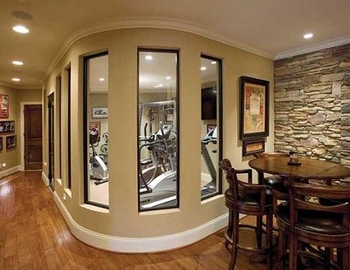 Home Gym Design: Awesome Home Gym! This Would Be Great Downstairs. Half Gym