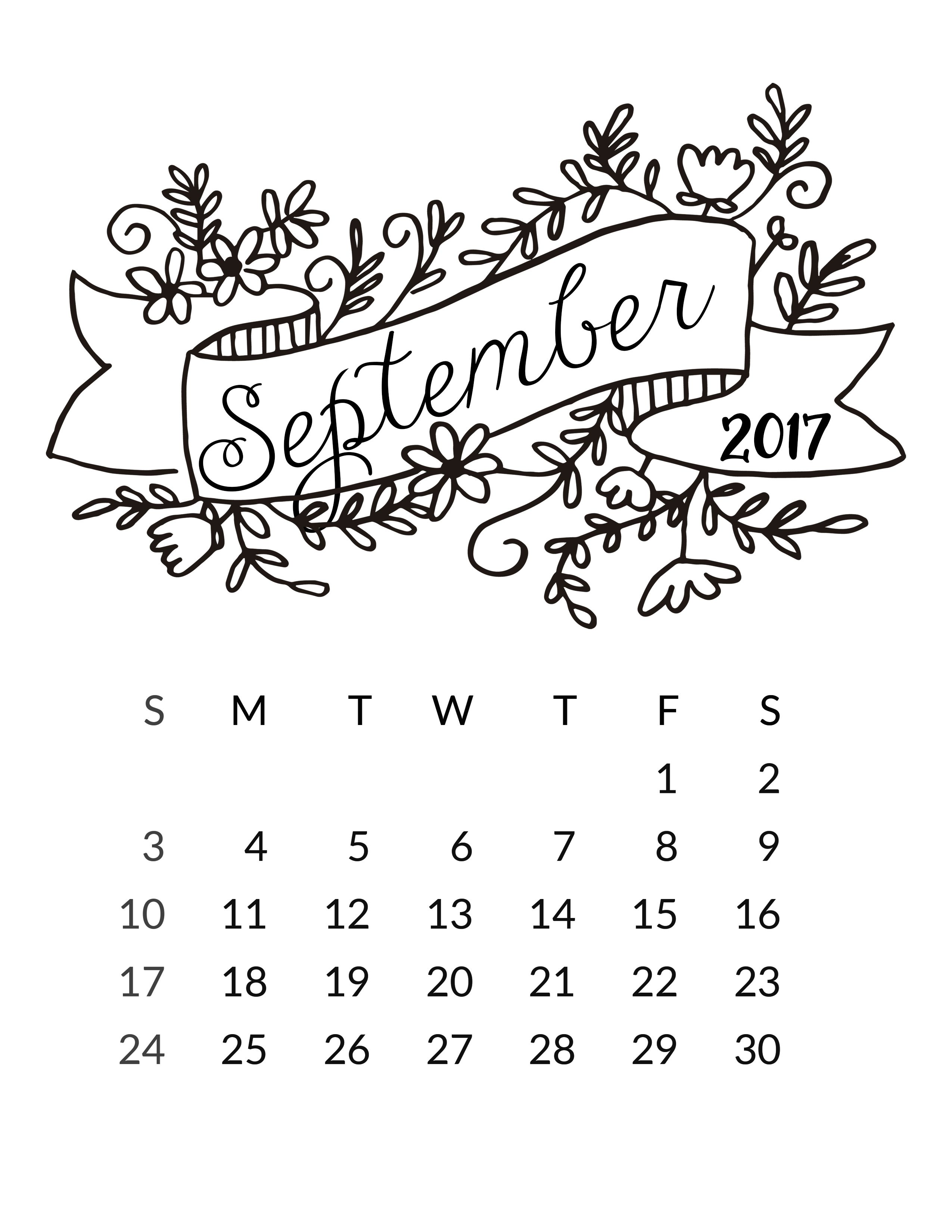 2017 september calendar printable