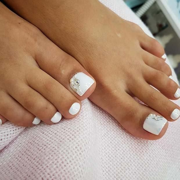 21 Elegant Toe Nail Designs for Spring and Summer: #8. ELEGANT, WHITE TOE  NAIL DESIGN WITH GEMS; #pedicure; #toenails; #nailart; ... - 21 Elegant Toe Nail Designs For Spring And Summer: #8. ELEGANT