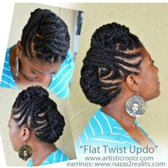 Flat Twists And Two Strand Twists Updo Pinteres