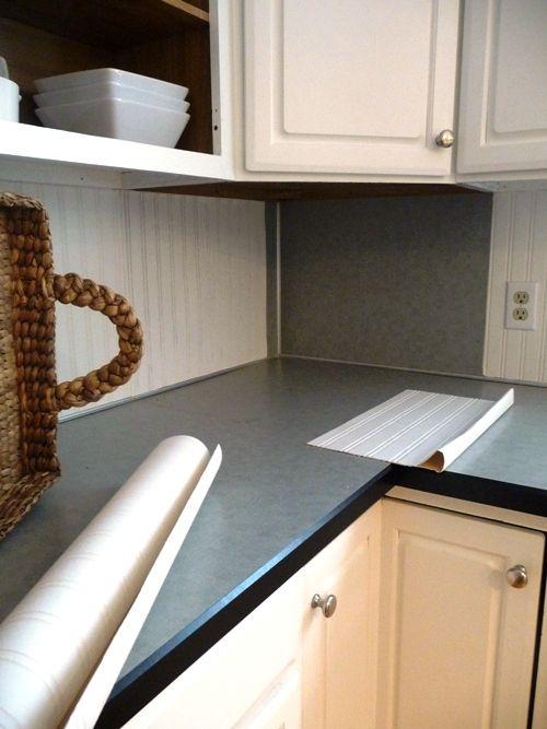 Wallpaper For Kitchen Countertops : Beadboard wallpaper over laminate m y p r o j e c