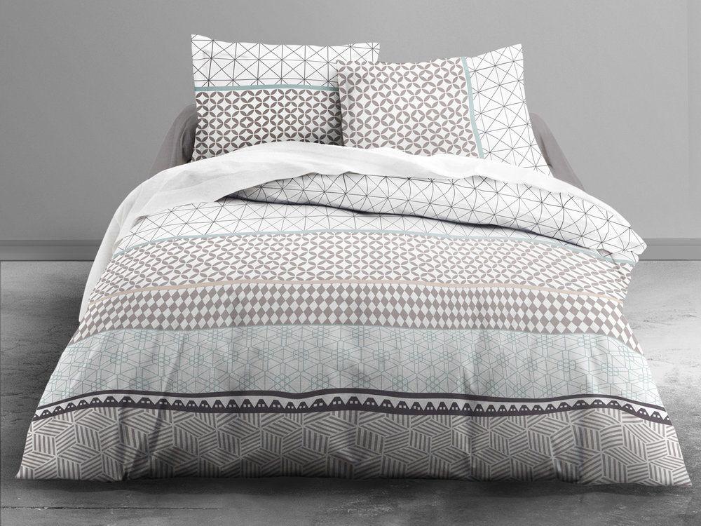 Parure Housse De Couette Taies 100 Coton Fermeture Zip Geometrique Beige Grafism Zip Bed Decor Luxury Bedding Home