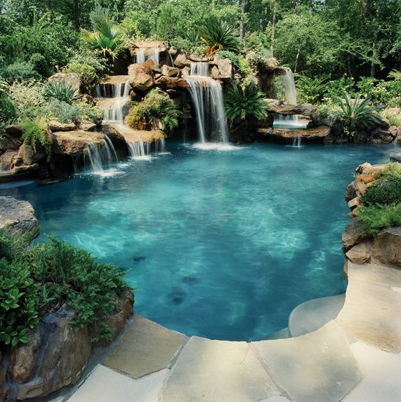 Stone Pool With A Waterfall Now All I Have To Do Is Learn How To Swim Swimming Pools Backyard Amazing Swimming Pools Pool Waterfall