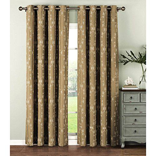 Window Elements Geo Gate Embroidered Faux Linen Extra Wide 108 X 84 In Grommet Curtain Panel Pair Natural For Sale Grommet Curtains Panel Curtains Sheer Curtain Panels