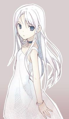 Anime cabello blanco ojos azules