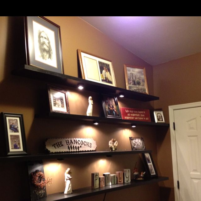 Pin By Jim Sutterfield On For Home Floating Shelves With Lights Decor Cozy Bedroom Diy