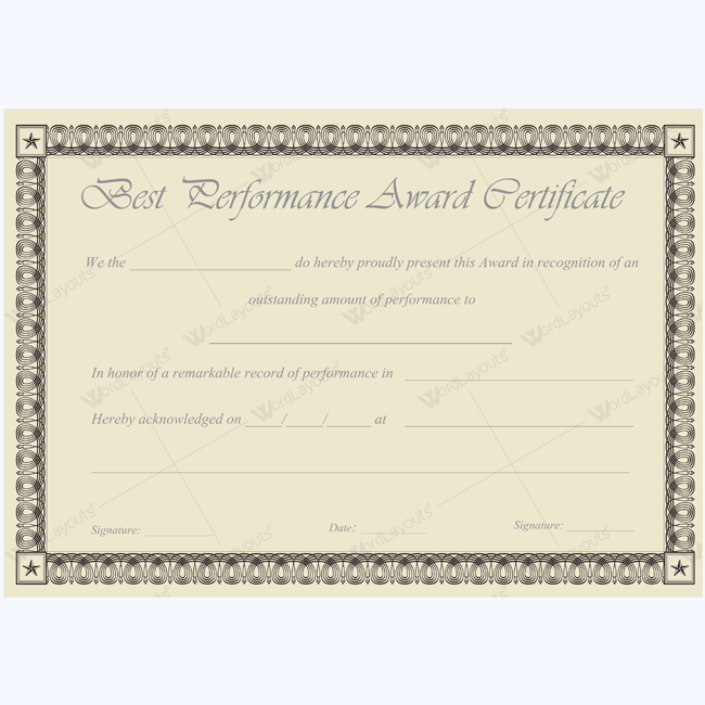 Best performance award certificate 09 certificate teacher and award paper template awards certificate templates certificate templates 15 best images of funny blank printable award ribbons funny 4 paper awards yadclub Choice Image