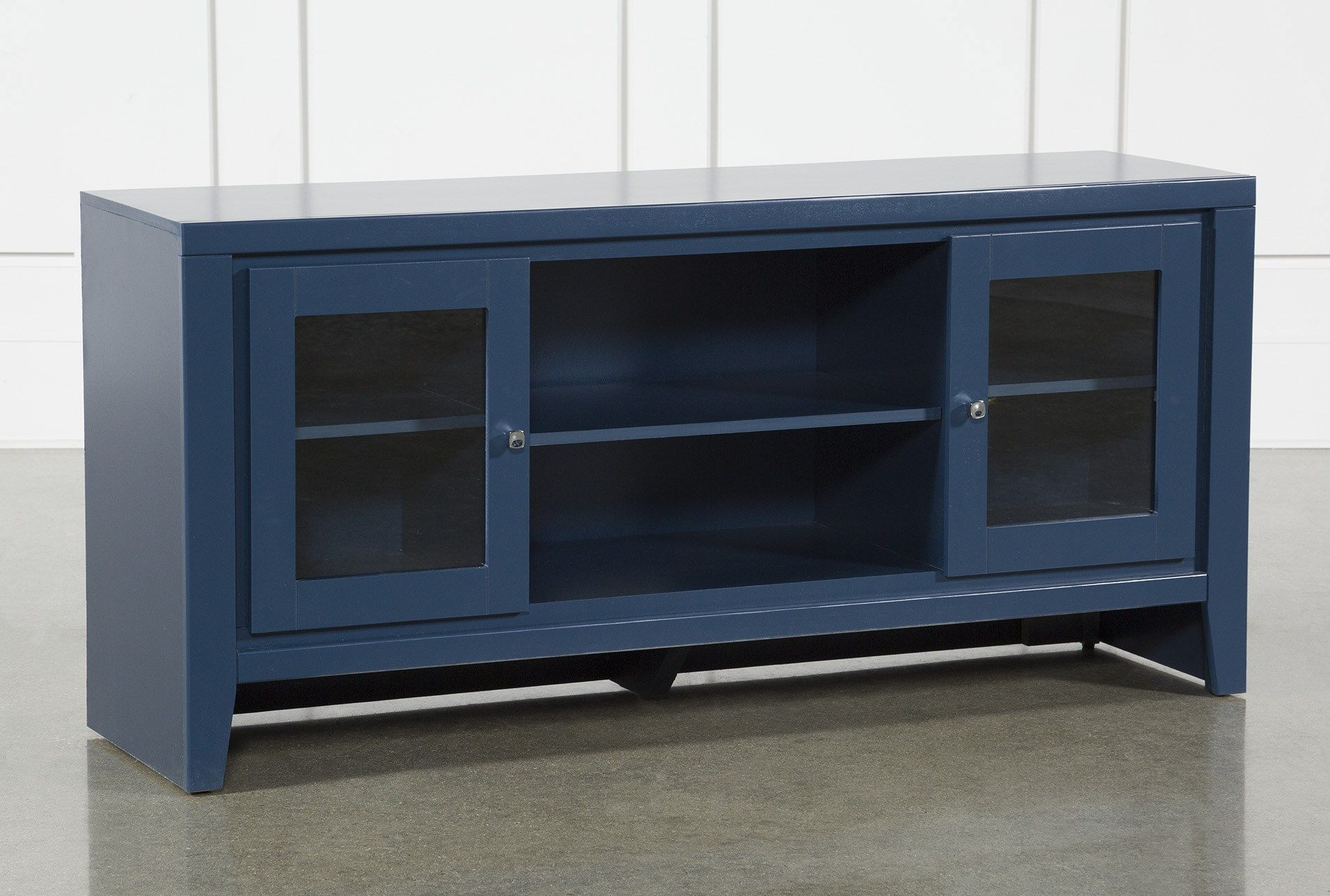 A Fresh Stylish Media Storage Option For Your Living Room Our Century Blue Tv Stand Makes Entertainment The Focal 60 Inch Tv Stand Blue Tv Stand 60 Inch Tvs