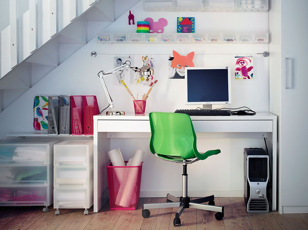 Small White Desk And Swivel Chair Home Office Under Stairs Home